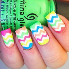 It's all about the polish: Aussie Nails Monday - theme - recreate a mani someone else in AN has done this year - Neon zigzag nails