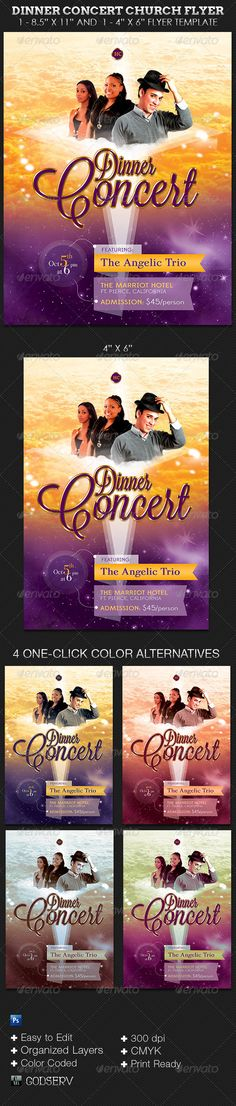 Dinner Concert Church Flyer Template — Photoshop PSD #gold #flyer • Available here → https://graphicriver.net/item/dinner-concert-church-flyer-template/5857818?ref=pxcr