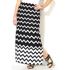 Avenue Plus Size Chevron Maxi Skirt ($60) ❤ liked on Polyvore featuring plus size women's fashion, plus size clothing, plus size skirts, black white, plus size, plus size maxi skirt, black and white skirt, chevron long maxi skirt and black white chevron maxi skirt