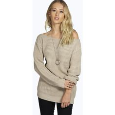 Boohoo Rose Waffle Knit Slash Neck Jumper ($26) ❤ liked on Polyvore featuring tops, sweaters, stone, layered sweater, boatneck top, waffle top, boat neck sweater and crop top