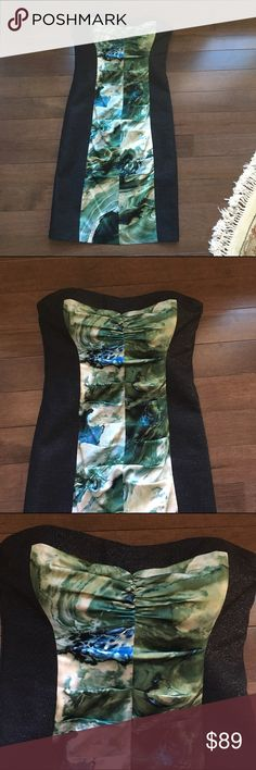 """Nicole Miller Strapless Dress Sz. 8 This beauty was worn once to a gala.  Excellent like new condition.  Was dry cleaned after the event.   32"""" in length. Nicole Miller Dresses Midi"""