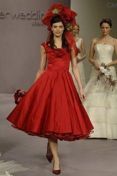 Red Tea Length Wedding Dresses