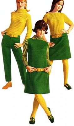60s Fashion in green and yellow. LOVE the shoes; remember the shoes HAD to match!
