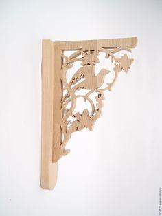 Купить Кронштейн для полок деревянный 6 - бежевый, консоль, полка, полка из дерева, кронштейн