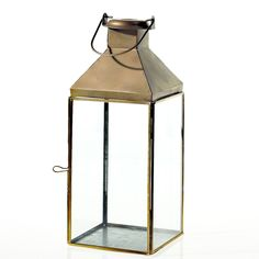 Brushed gold metal, antiquated lanterns Two sizes: 5.5″x 5 .5″ x 14″ and 5.5″x 5.5″x 18″ Each size rents separately