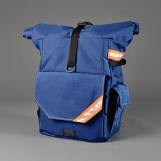 CONVERTIBLE BACKPACK PANNIER - Woodward - Navy Blue & Orange. $250.00, via Etsy.