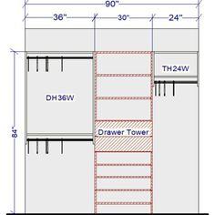 Ideas for modular closet system organizations Walk In Closet Size, Walk In Closet Dimensions, Toddler Closet Organization, Small Closet Storage, Closet Ideas, Organization Ideas, Modular Closet Systems, Modular Closets, Home Office Closet