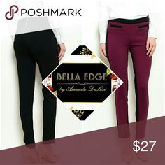 🆕 Burgundy black contrast dress pants 67.5% RAYON, 28.5% NYLON, 4% SPANDEX. These stretch woven pants features contrast colored trim, ankle length hem, and zip up backing. Size small to large Bella Edge Boutique Pants