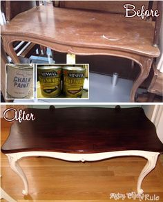 Thrift Store Coffee Table Makeove - Minwax Polyshades - Chalk Paint - artsychicksrule.com #chalkpaint #polyshades