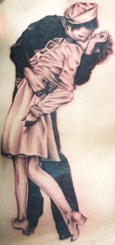 Sailor kissing 'nurse' in iconic V-J Day kiss tattoo.  Awesome!