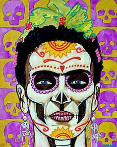 Off SALE- Day of the Dead Mexican Folk Art Ceramic Framed Tile by Heather Galler - Frida Kahlo Sugar Skulls Ready To Hang Tile Fram Sugar Skull Painting, Sugar Skull Art, Sugar Skulls, Candy Skulls, Diego Rivera, Chicano, Clemente Orozco, Kahlo Paintings, Day Of The Dead Art