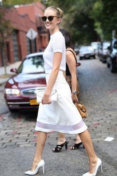 Lindsay Ellingson wearing Misha Nonoo Resort 15 head to toe to the Misha Nonoo SS15 runway show in NYC