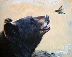 The bear and the hummingbird, make it  butterfly