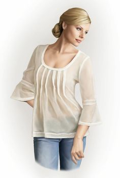 Blusa  - Patrón de costura #5764 Patrón de costura a medida de Lekala con descarga online gratuita.