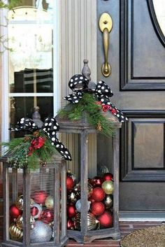 these are the BEST Homemade Christmas Decorations &…, DIY Christmas Lanters.these are the BEST Homemade Christmas Decorations &… DIY Christmas Lanters.these are the BEST Homemade Christmas Decorations &…. Noel Christmas, Christmas Projects, Winter Christmas, Christmas Porch Ideas, Simple Christmas, Christmas 2019, Front Door Christmas Decorations, Christmas Vacation, Handmade Christmas