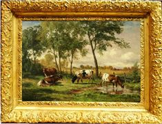 Landscape Oil Painting | Superb 20th C American Landscape Oil Painting Of Cows In A Pasture ...