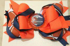 Denver Broncos Football Bottlecap Bow in Blue by PinkyDinkyBowtiki, $5.99