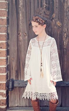 Tween Bohemian Lace Frock Preorder 4 to 14 Years