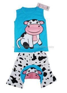 เสื้อผ้าเด็ก - ชุดเด็กเสื้อแขนกุด+กางเกงก้นบาน Busha - 199.00 บาท >> 80