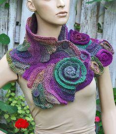 Crochet Scarf Freeform Crochet Flower scarf Capelet Roses Shadows Green Purple unique Neck Warmer Freeform crochet Women Freeform Crochet