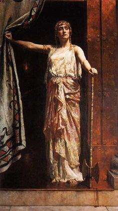 """Clytemnestra After the Murder, by John Collier, British, oil on canvas. Collier studied at the Munich Academy and employed a Pre-Raphaelite style. How Clytemnestra was ever considered a """"femme fatale"""" is the question when looking at. Städel Museum, John Everett Millais, Greek Tragedy, Trojan War, Greek And Roman Mythology, Classical Mythology, Bullen, English Artists, Ideas"""