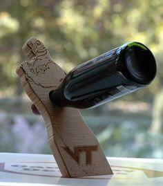 VT Balancing Wine Bottle Holder by GameDayDesigns1 on Etsy, $40.00