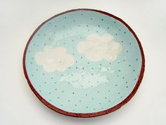 Hand Painted Cloud Ceramic Plate Pottery Plate by susansimonini