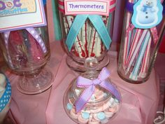 Chocolate covered pretzel thermometers. Such a great snack idea for a Doc Mcstuffins birthday party