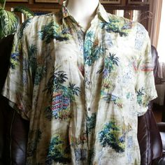 Vintage silk island wear Lightweight 100% silk shirt by Robert Stock, men's size L but I wore it over tank tops, women's 1X-2X. Tropical print pattern includes a suspension bridge. (??) Collar, button front, breast pocket, short sleeves, and the most delicious silk fabric. Very good used condition. Robert Stock Tops Button Down Shirts