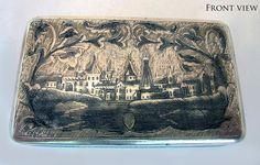 19th Century RUSSIAN 1858 ANTIQUE SOLID SILVER NIELLO SNUFF BOX MOSCOW T. Borkov #TBorkov