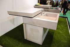 Messeauftritt #Blühendes Österreich in Wels-Concreto Outdoor Furniture, Outdoor Decor, Ottoman, Table, Design, Home Decor, Wels, Shelf, Decoration Home
