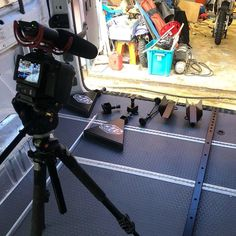 This flooring isn't camera shy! Seat Time's moto van is looking awesome - they even filmed the creation procces to share with us all! G Floor, Tile Floor, Garage Floor Mats, Garage Flooring, Enclosed Trailers, Cool Garages, Floors And More, Camera Shy, Cargo Trailers