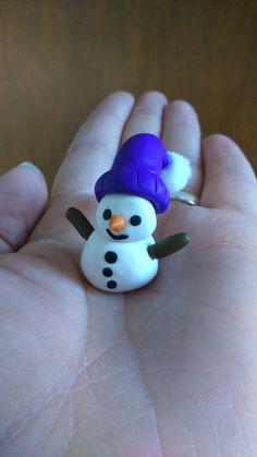 Snowman, polymer clay with pompom