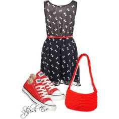Outfits with Converse Sneakers 2013 for Women by Stylish Eve Dress With Converse, Red Converse, Converse Outfits, Converse Sneakers, Converse Fashion, Casual Outfits, Casual Dressy, Fashion Outfits, Converse Chuck