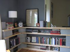 Bookshelf on the cheap - Cinder Blocks and 2x8s