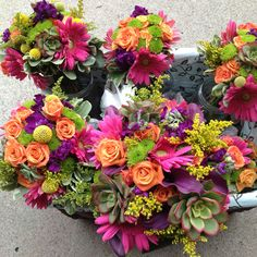 Today's bouquets (7-27-12). Bright colors and succulents by BRANCHES.. a floral studio