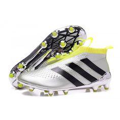 Adidas Botas de Futbol ACE 16 Purecontrol FG AG Negro de plata verde