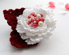 Crochet Beaded Cotton Corsage Brooch White by CraftsbySigita,