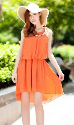 #SheInside Bohemia Solid Orange Round Neck Sleeveless Waist Irregular Chiffon Dress - Sheinside.com