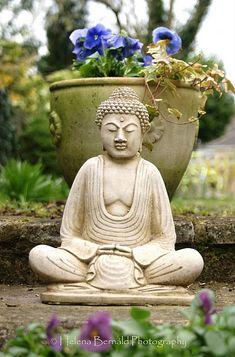 flower pot + statue - meditation garden