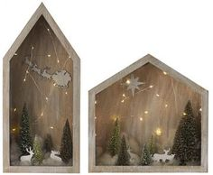 Martha Stewart Living™ Snowfall Lighted Dioramas - Set of 2 - Winter Diorama - Holiday Decor | HomeDecorators.com