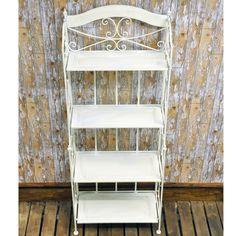 Vintage Style Wrought Iron Antique White Cream Metal Folding 4 Shelf Bakers Rack