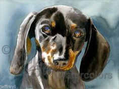 DOXIE MOXIE Miniature Dachshund Dog Art Print Watercolor Painting Artist Signed #Realism