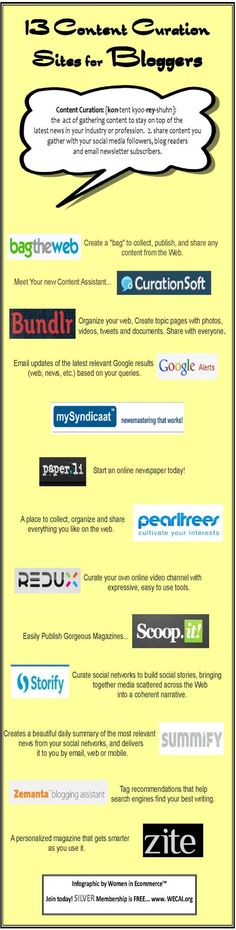 13 Content Curation Sites for Bloggers... and content providers    Simple infographic style!