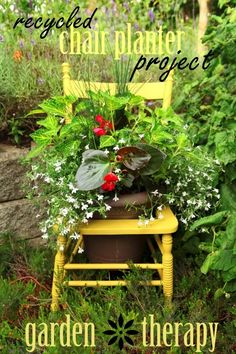 Fun!  Recycled Chair Planter Project Garden Therapy