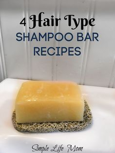 4 Hair Type Shampoo Bar Recipes How to choose natural ingredients for any hair t. 4 Hair Type Shampoo Bar Recipes How to choose natural ingredients for any hair type, plus natural shampoo recipes fo Diy Shampoo, Shampoo Seco, How To Make Shampoo, Lush Shampoo Bar, Solid Shampoo, Shampoo Herbal Essences, Natural Shampoo Recipes, Natural Soaps, No Yellow Shampoo