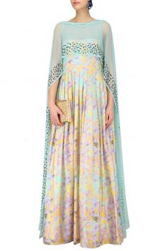 Prints By Radhika Blue Printed Gown with Embellished Cape #happyshopping#shopnow#ppus