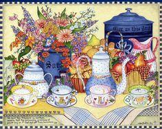 Free Wallpaper - Free Art wallpaper - Country Sampler of Simple Blessings wallpaper - - 18 Tee Kunst, Country Sampler, Arts And Crafts, Paper Crafts, Tea Art, Painting Wallpaper, Gif Animé, Country Art, Kitchen Art