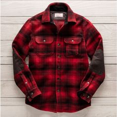Guideboat - Men's Ausable Shirt Jac, Red Ombre