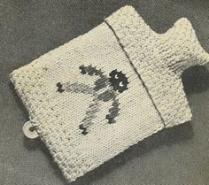 Golly Hot Water Bottle Cover - vintage knitting pattern